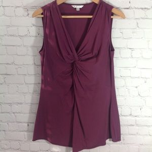 CAbi Knotted Plum Sleeveless Top Style 393.